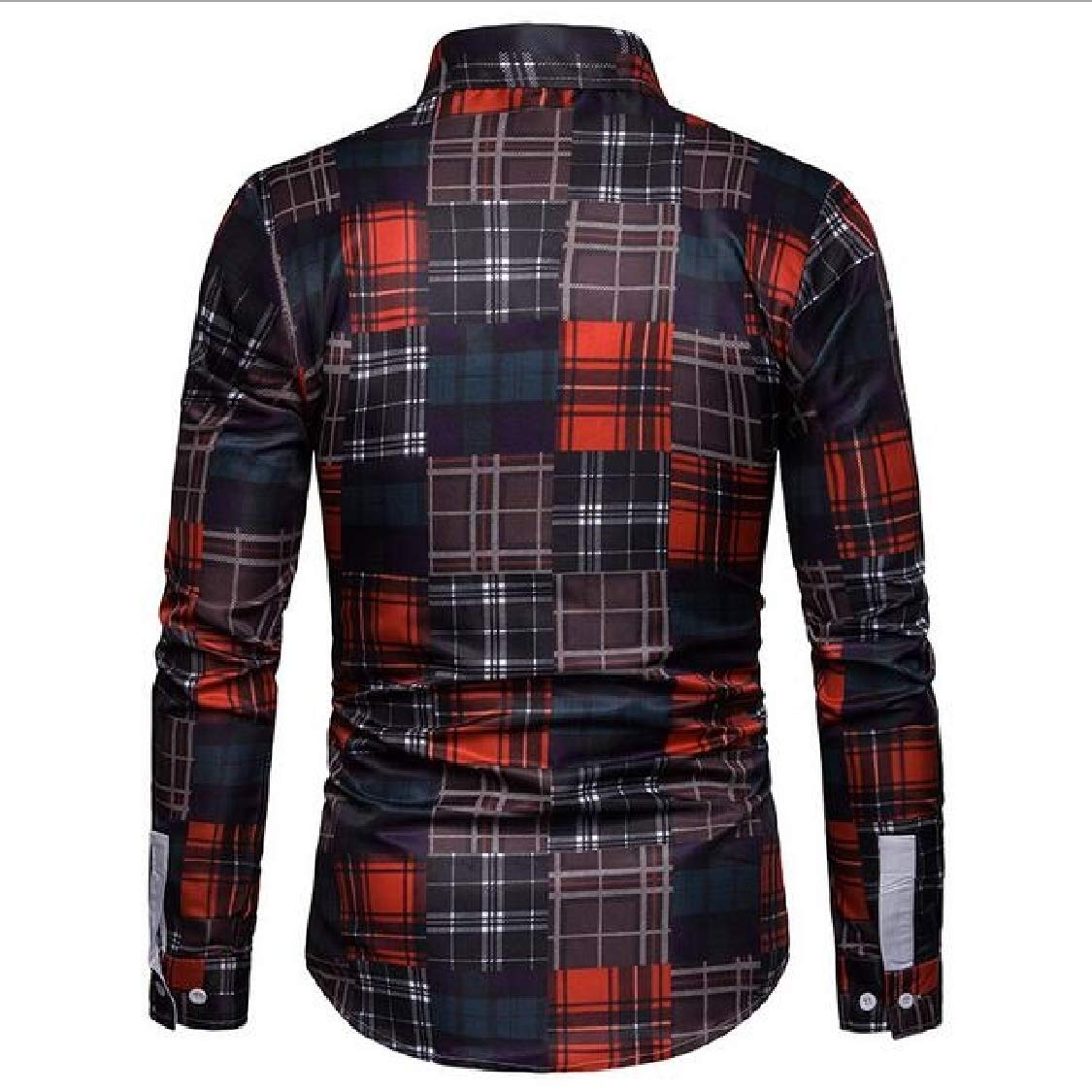 Lutratocro Men Casual Long-Sleeve Plaid Button-Down Business Shirts
