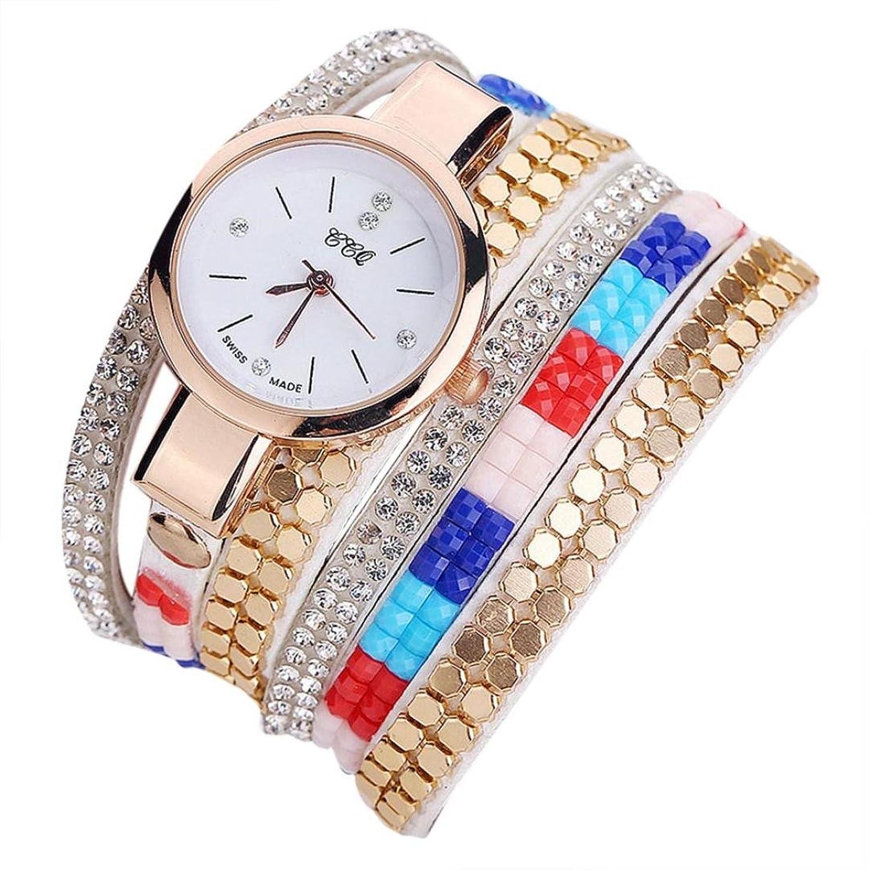 レディースカジュアル腕時計、Sinmaラインストーンカラフルストラップ腕時計アナログクォーツレザー腕時計 B071S3BS5D