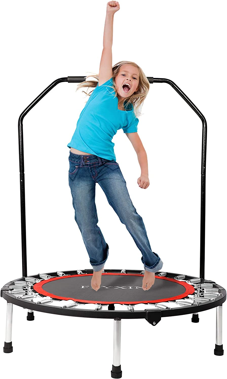 LONABR 40 Rebounder Mini Fitness Trampoline with Sponage Handle for Kids and Adults Indoor Outdoor Home/&Gym Exercise Workout