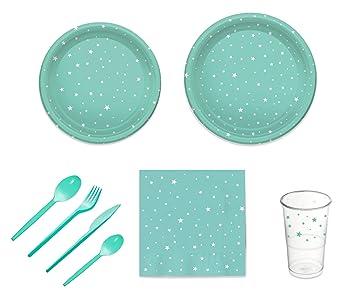 Pack para Fiesta Infantil o cumpleaños con diseño de Estrellas - Color Aguamarina - Set de vajilla de plástico para 12 Personas - 120 Piezas