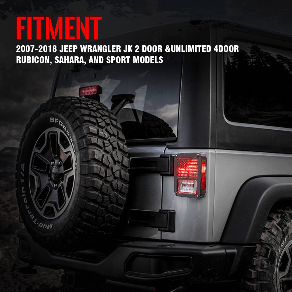Xprite American Us Flag Tail Light Covers Guards Protectors For Jeep Wrangler Jk Accessories 2007 2018 Unlimited Pair Zs 0004