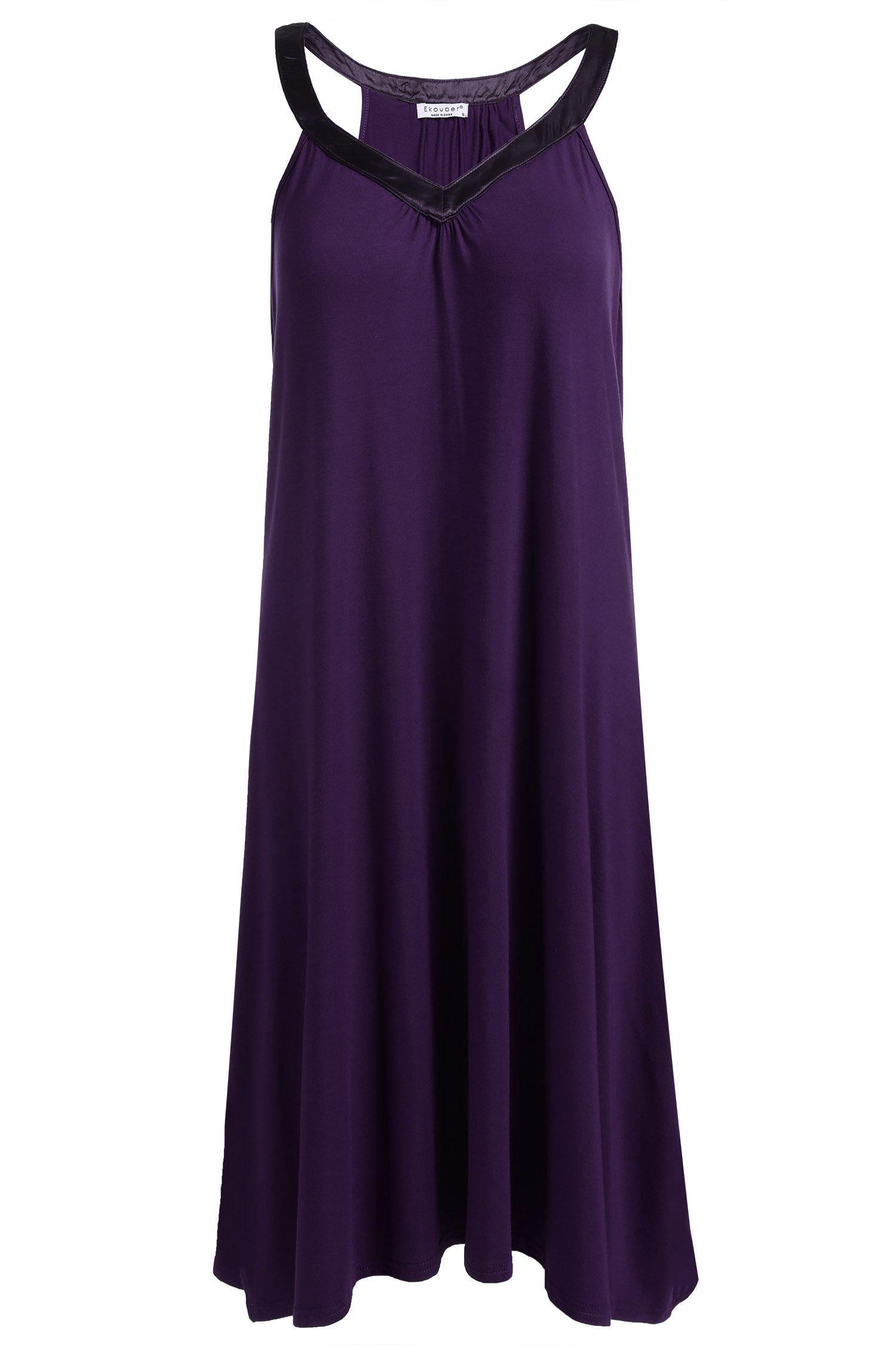 Ekouaer Womens Sleeveless Nightgown Sleepwear Summer Slip Night Dress (M, Purple-6095)