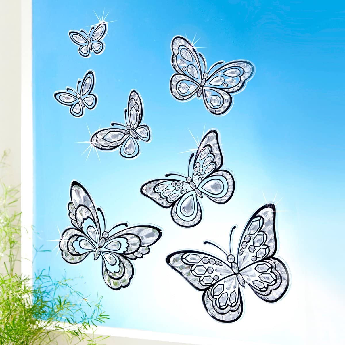 Unbekannt TRI Kristall-Deko Schmetterling 7 St/ück Fensterdeko Fenstersticker 3D-Effekt