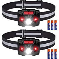 2-Pack Outlite LED Reflective Strip Head Lamp with AAA Battery (Black)