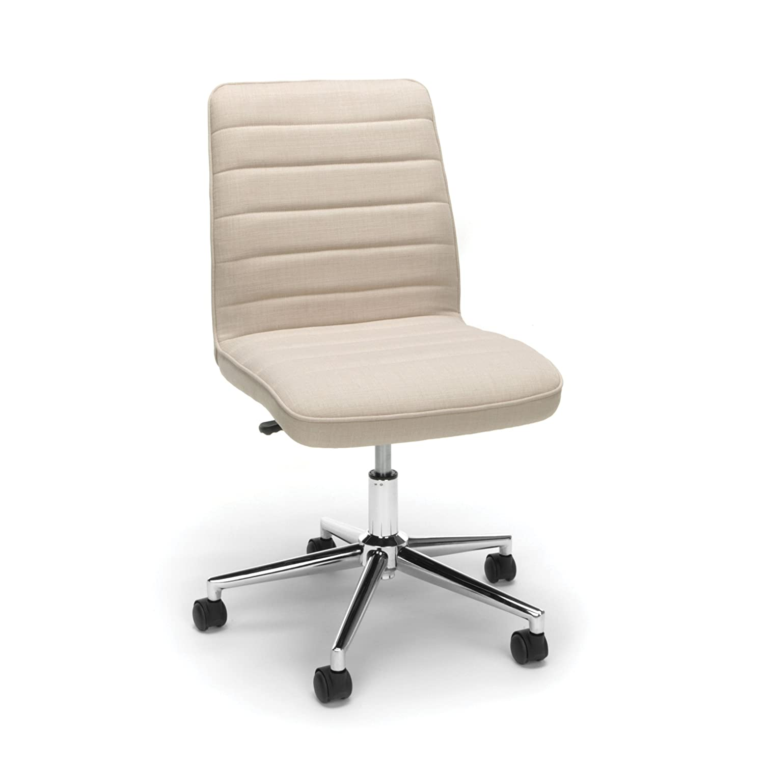 Essentials Upholstered Mid-Back Office Chair – Armless Fabric Computer Chair, Tan