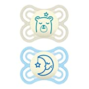 MAM Glow in The Dark Pacifiers, Baby Pacifier 0-6 Months, Best Pacifier for Breastfed Babies, Premium Comfort and Oral Care 'Perfect' Collection, Boy, 2-Count