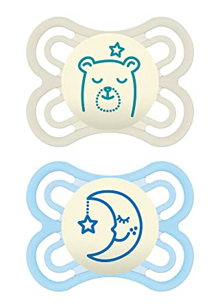 Amazon.com: MAM Perfect Night 2 Piece Baby Pacifier, Niño, 0 ...