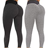 NewJ's Women's High Waist Yoga Pants TIK Tok Butt Lifting Anti Cellulite Workout Leggings Tummy Control Leggings Tight