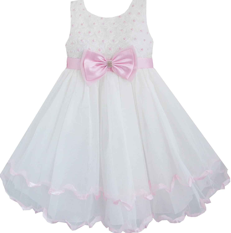 Sunboree Mädchen Kleid Weiß Perle Rose Bogen Binden Hochzeit Festzug ...