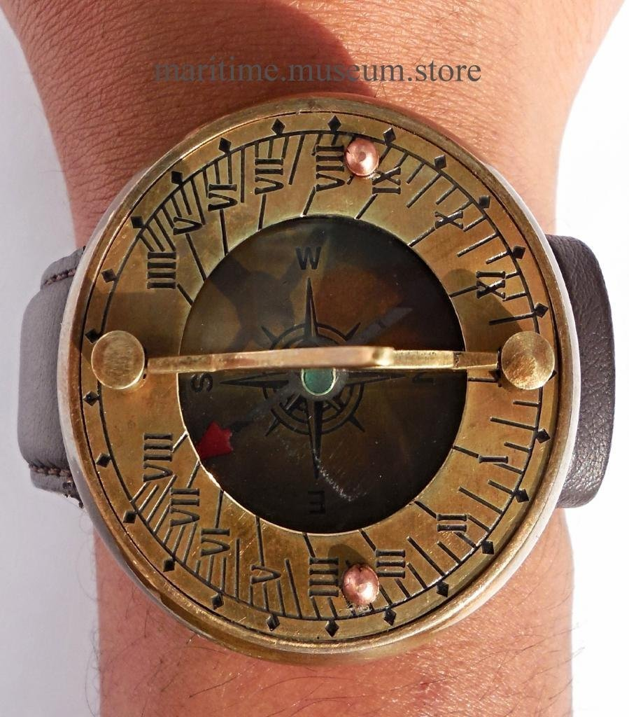 Eve.store Wirst Watch Sundial Compass with Leather Strap by Eve.store