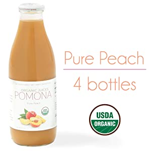 Pomona Organic Juices Pure Peach Juice, 1 Liter Bottle (Pack of 4), Cold Pressed Organic Juice, Non-GMO, No Sugar Added, Not from Concentrate, Gluten Free, Kosher Certified, Preservative Free