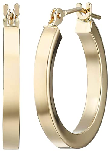 Amazon 14k Yellow Gold Square Tube Hoop Earrings Jewelry
