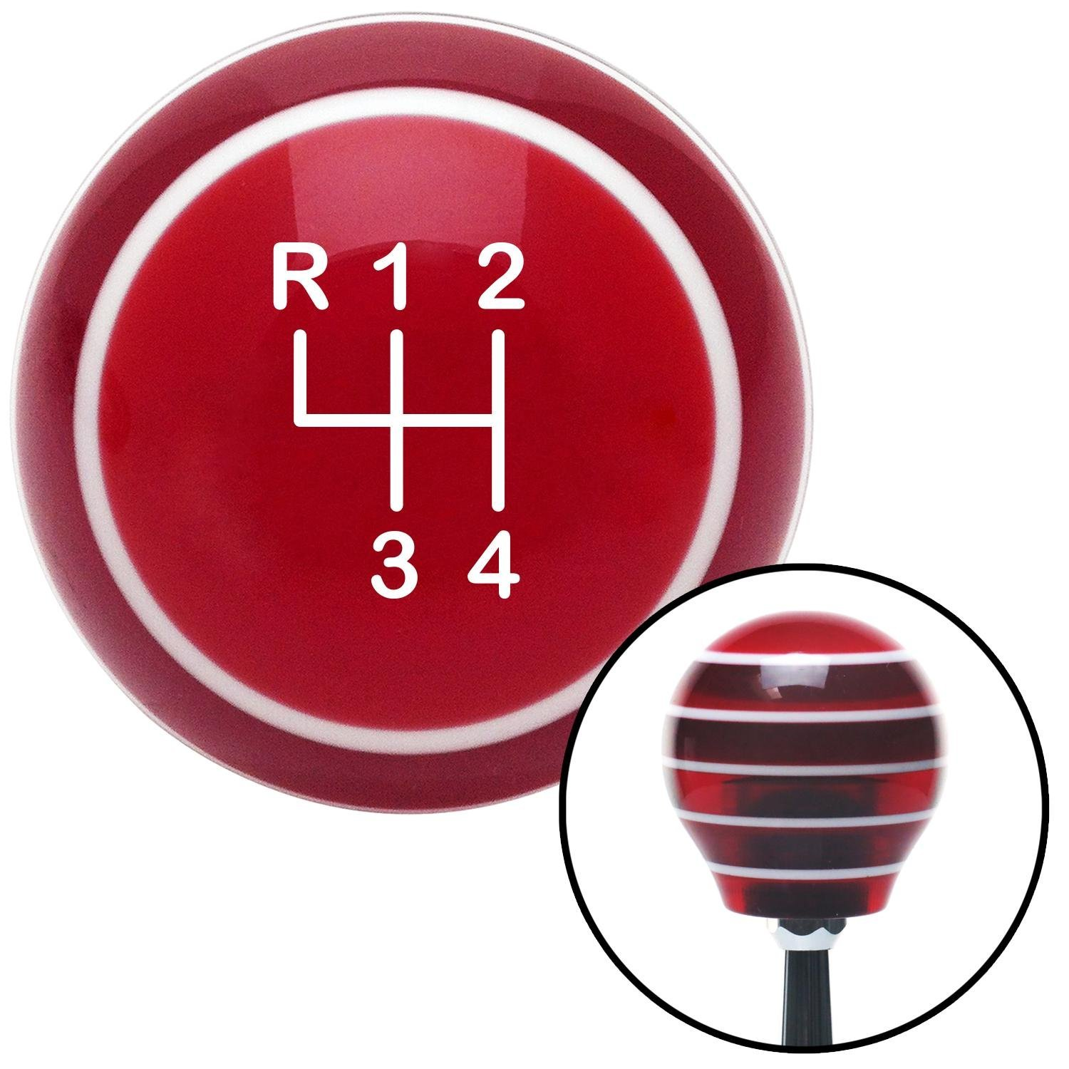 American Shifter 117819 Red Stripe Shift Knob with M16 x 1.5 Insert White Shift Pattern 44n