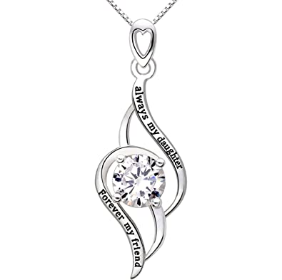 Amazon alov always my daughter forever my friend jewelry silver alov always my daughter forever my friend jewelry silver cubic zirconia love pendant necklace aloadofball Choice Image