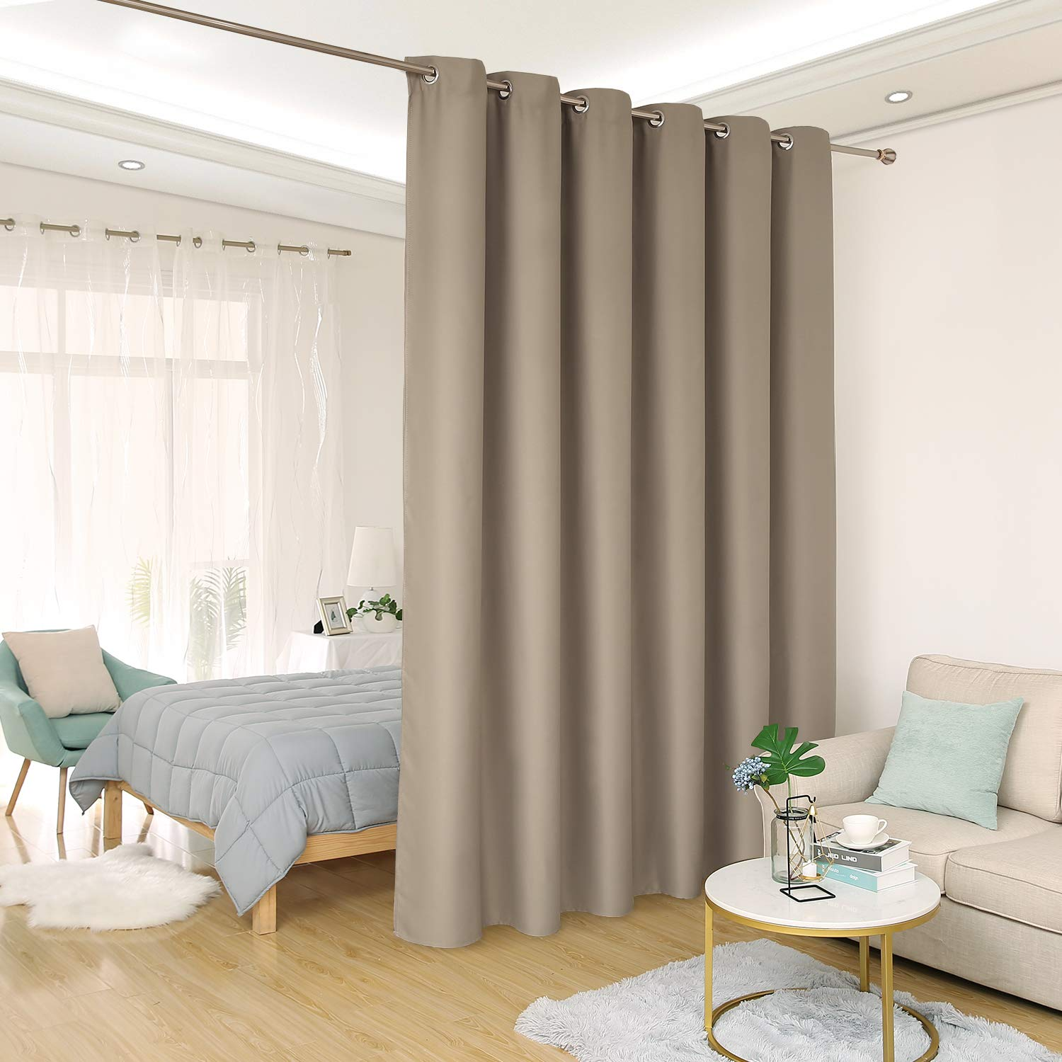 Khaki 10ft Wide x 8ft Tall Deconovo Room Divider Curtain Extra Wide Curtains Privacy Grommet Thermal Insulated Room Darkening Panel Curtains for Sliding Door, 10ft Wide x 9ft Tall Greyish White 1 Panel