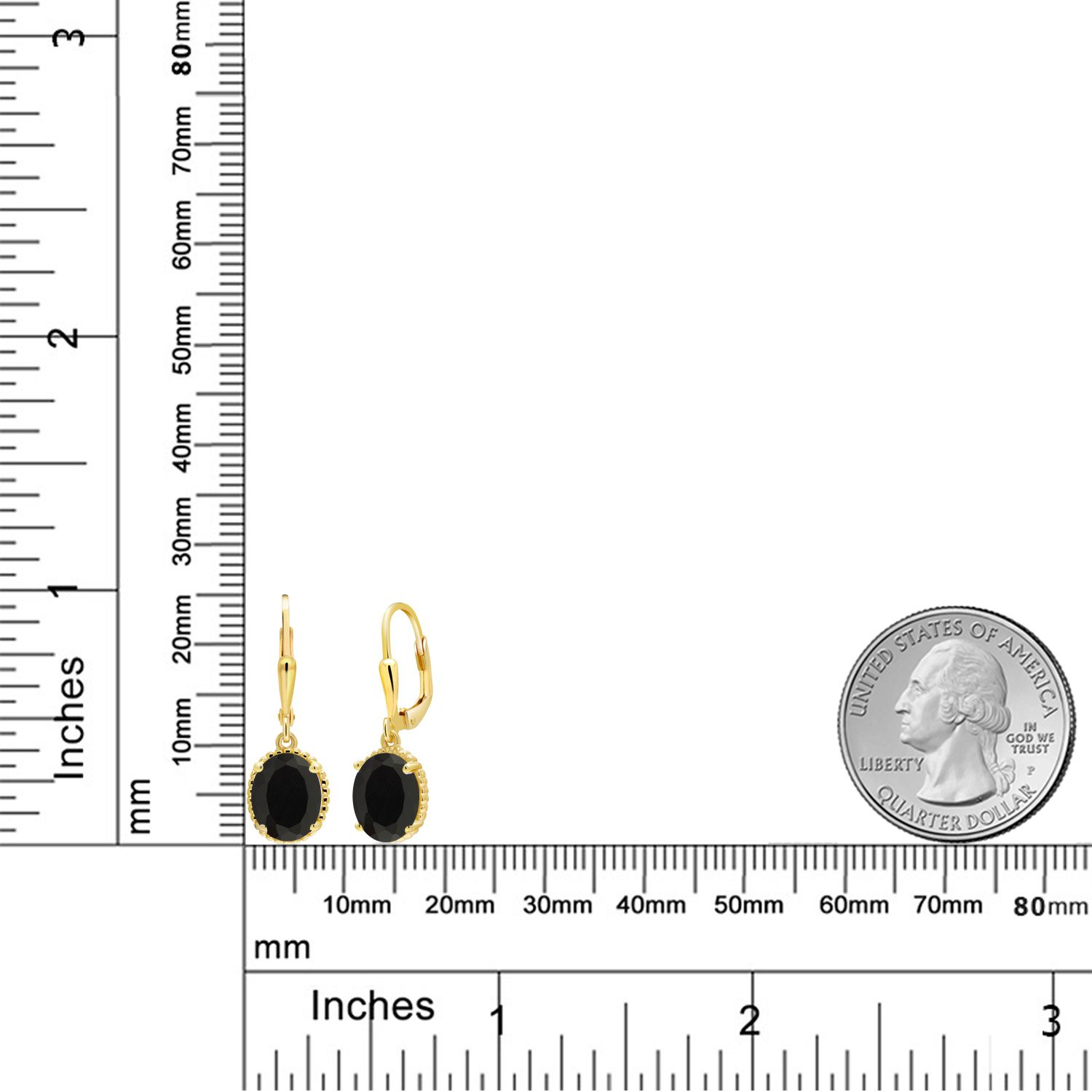 4.00 Ct Oval Black Onyx 18K Yellow Gold Plated Silver 27mm Length Dangle Earrings by Gem Stone King (Image #3)