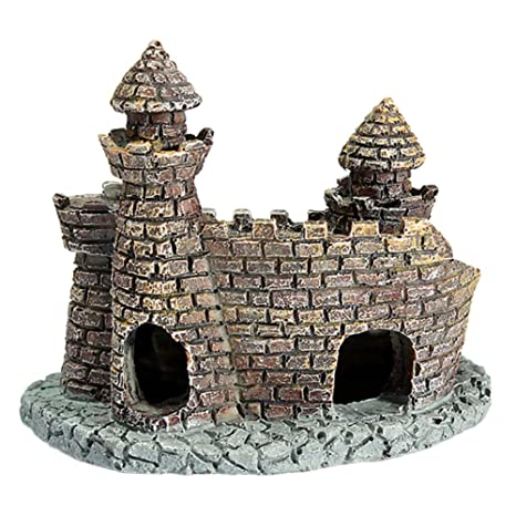 Vi.yo Adorno para acuario, diseño de castillo de río antiguo, resina,