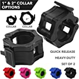 """Day 1 Fitness Quick-Release Safety Collars Set of 2 – Choose Size 1"""" or 2"""" - 5 Color Options, Weight Locking Clips: 1 inch Standard Weightlifting OR 2 inch Olympic Bars - Heavy-Duty Plate Clamps"""