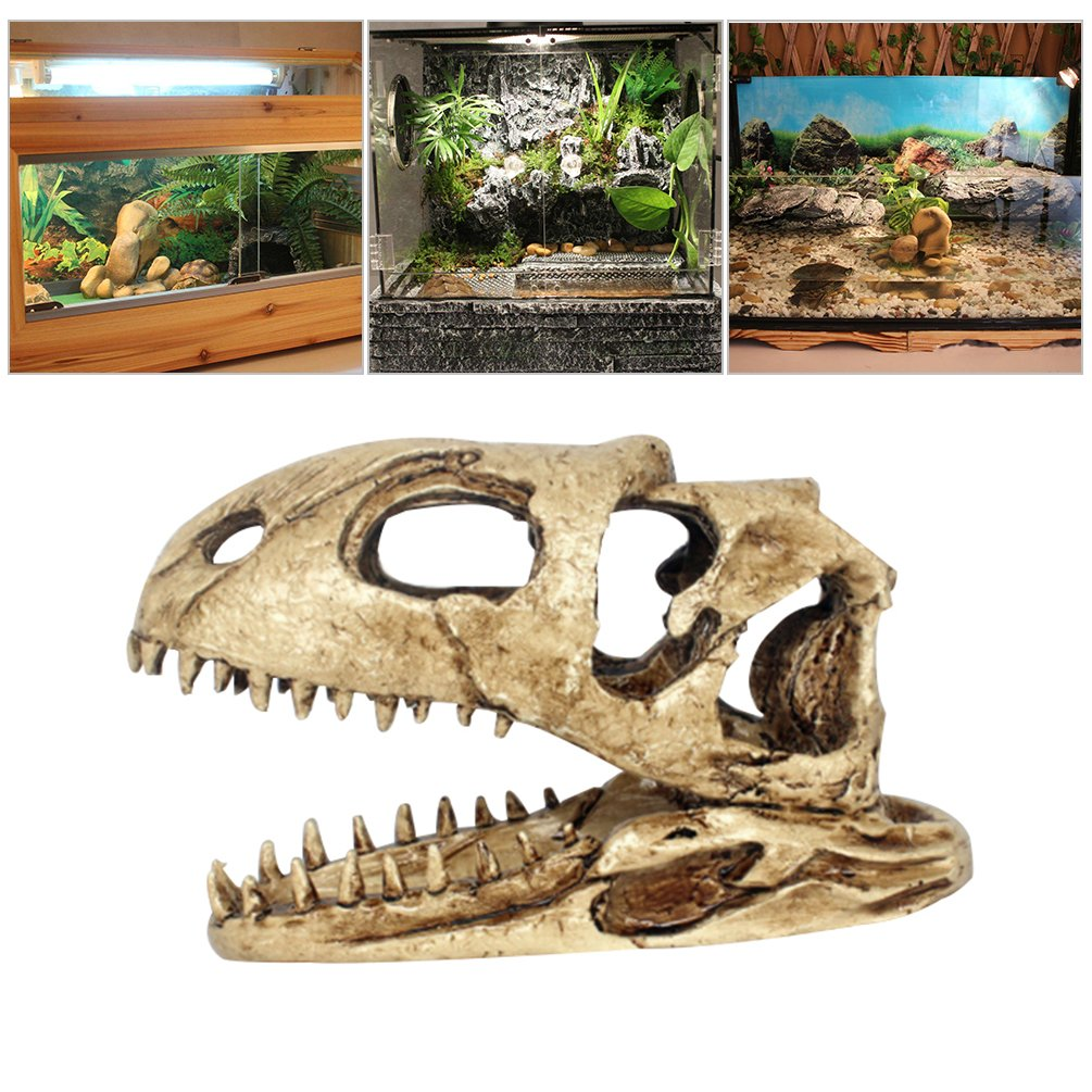 Petacc Reptile Habitat Decoration Resin Aquarium Decorations Fish Tank Ornament, Simulated Dinosaur Skull Pattern