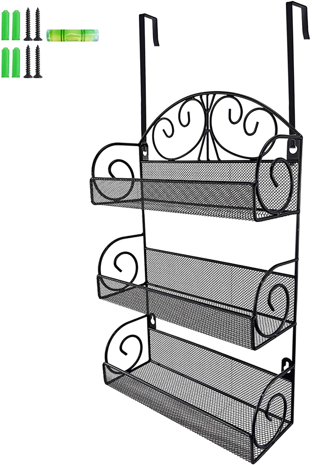 Giftgarden 3 Tier Metal Spice Rack with 2 Hooks for Kitchen, Pantry, Cabinet, Door, Bathroom or Counter Top as Storage Organizer Shelf, Wall Mount or Free Standing-Black Bronze Finish