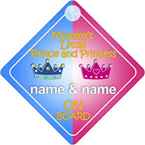 Personalised Child//Baby On Board Car Sign ~ Mummys Little Princesses ~ Purple