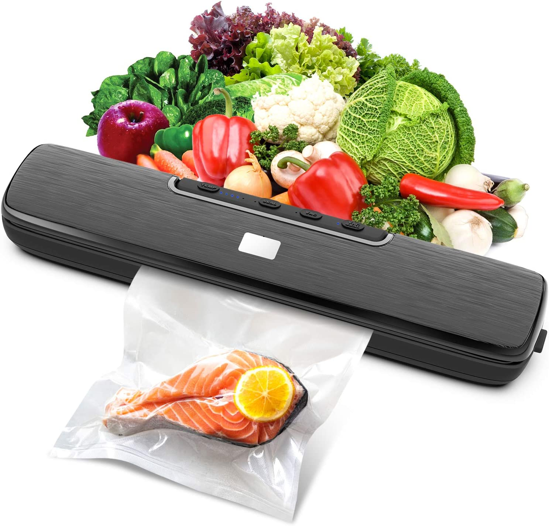 Vacuum Sealer Machine, Automatic Food Sealer Machine with Dry & Moist Food Modes, Compact Food Sealer Vacuum for Food Preservation, 15 Pcs Vacuum Bags