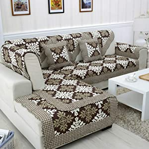 "vctops Vintage Sectional Sofa Covers, Cotton Printed Patchwork Sofa Slipcover Furniture Protector Anti-Slip Couch Covers for Dogs Cats Kids, 1pc Brown 36""x82"""