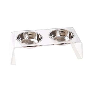 Elevated Acrylic Pet Feeder Stand with 2 Stainless Steel Bowls for Cats and Dogs by Lubber