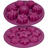 Silicone Candy Molds / Chocolate Molds - Nonstick 2 Piece Set - Flowers, Stars, Heart Shapes - For Mini Canelé, Chocolate, Financier, Soap, Jello, Cake, Butter