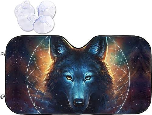 Funindiy Car Windshield Sunshade Fantasy Wolf Moon Galaxy Automotive Sun Shade Visor Foldable Window UV Reflector