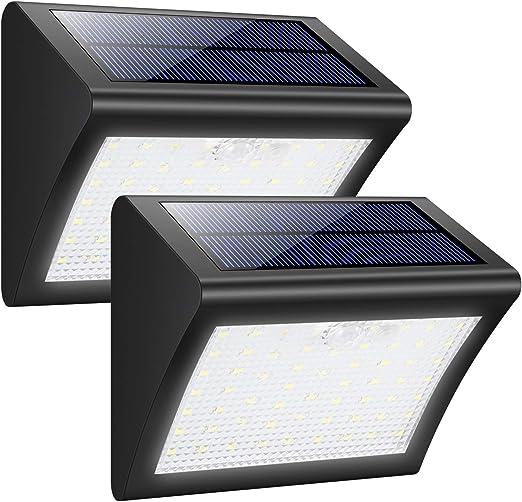Luces Solares Exterior, Trswyop 60 LED [2 Paquetes] Luz Solar con Sensor Movimiento 1800mAh Wireless Lámpara Solar Impermeables Focos Solares, Luces de Pared Solares Seguras con 3 Modos Para Pared: Amazon.es: Jardín