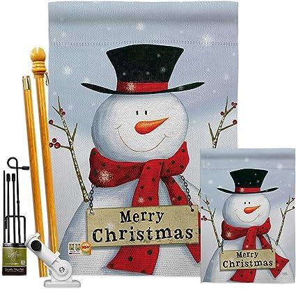 Amazon Com Breeze Decor Christmas Joyful Snowman Garden House Flags Kit Winter Santa Marry Xmas Present Reindeer Season Wintertime Snow Small Decorative Gift Yard Banner Made In Usa 28 X 40