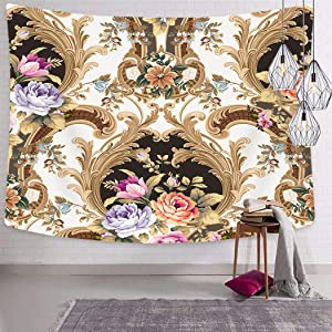 Asjdad Tapestry 60 X 80 Inch Floral Baroque Classic Damask White Gold Color Framed Jacquard Woven Print Polyester Wall Hanging Art Decor Bedroom Livingroom Dorm Decoration Tapestries