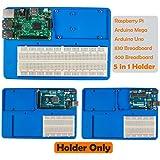 Arduino Raspberry Pi Holder Breadboard - SunFounder RAB 5 in 1 Base Plate Case for Arduino Uno R3 Mega 2560, Raspberry Pi 3 Model B, 2 Model B and 1 Model B+ 400 830 Points Breadboard Circuit Board