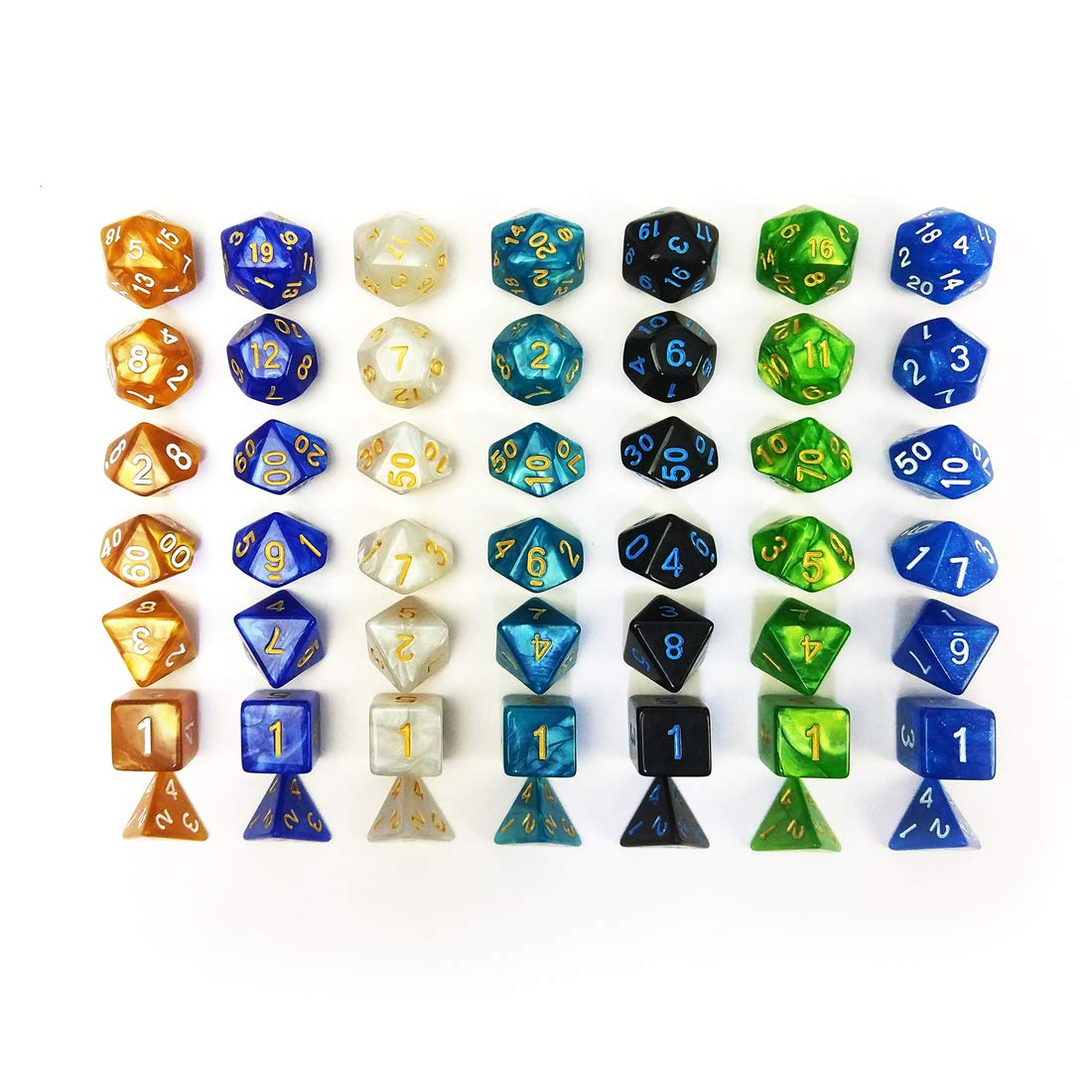 QMAY DND Dice Set, 140PCS Polyhedral Game Dice, 20 Color Double-Colors DND Dice Role Playing Dice for Dungeon and Dragons DND RPG MTG Table Games Dice D4 D8 D10 D12 D20 by QMAY (Image #8)