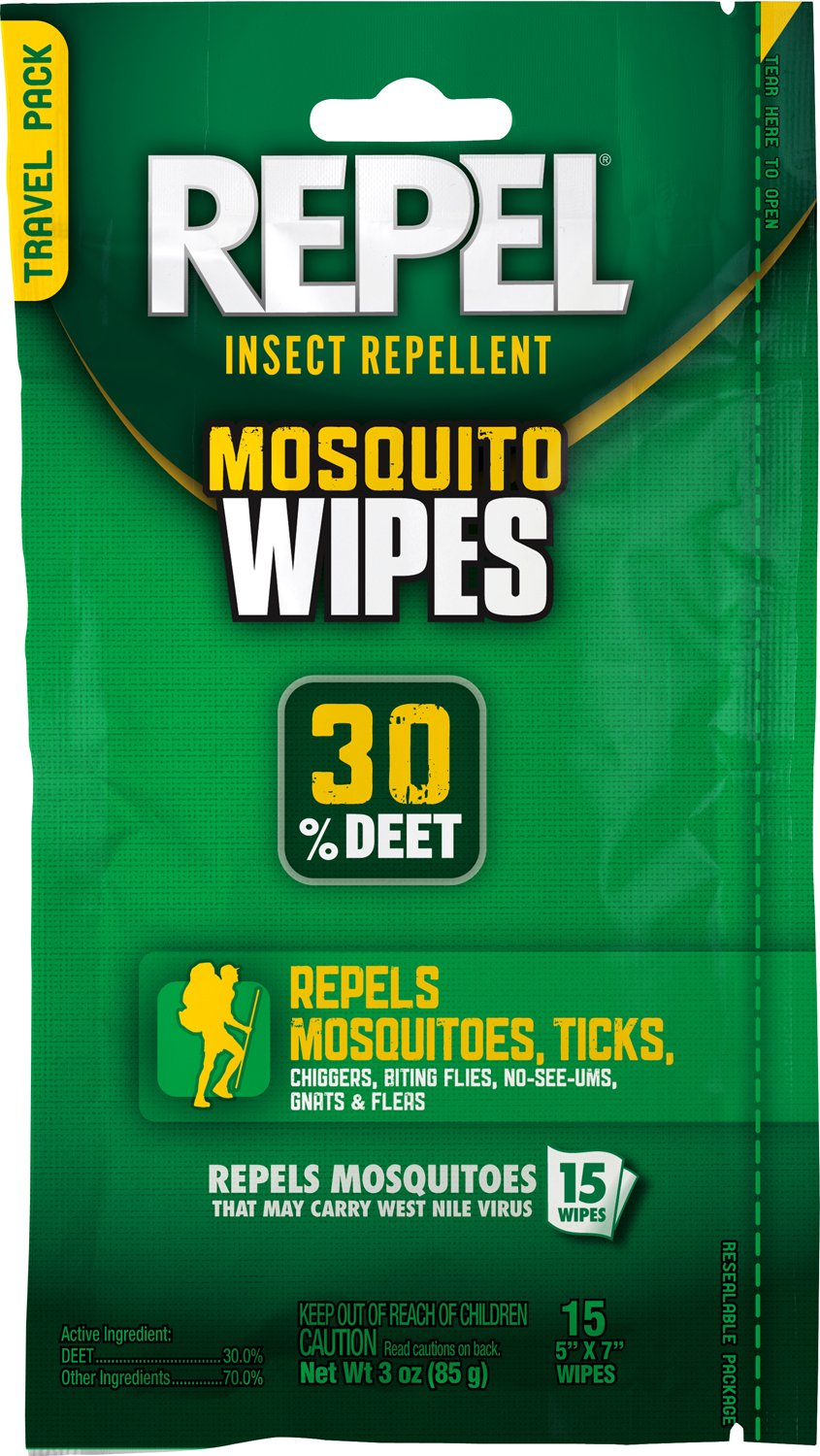 REPEL Sportsmen Mosquito Repellent Wipes, 15 Count