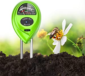 DIDIAN Soil pH Meter, 3-in-1 Soil Moisture/Light/pH Tester, for Garden, Farm, Lawn, Indoor & Outdoor, Soil Moisture Meter(Green)