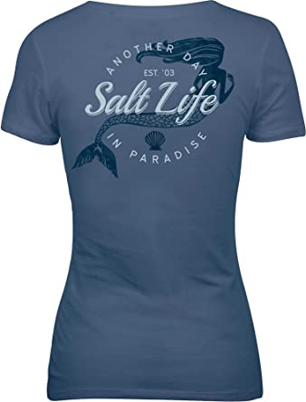 5b902a73 Salt Life Women's Mermaid Paradise Short Sleeve T-Shirt (S, Moonlight Blue)