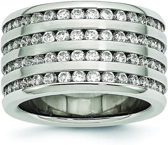 Forever Flawless Jewelry 3mm High Polished Titanium Round CZ Cubic Zirconia Eternity Wedding Band