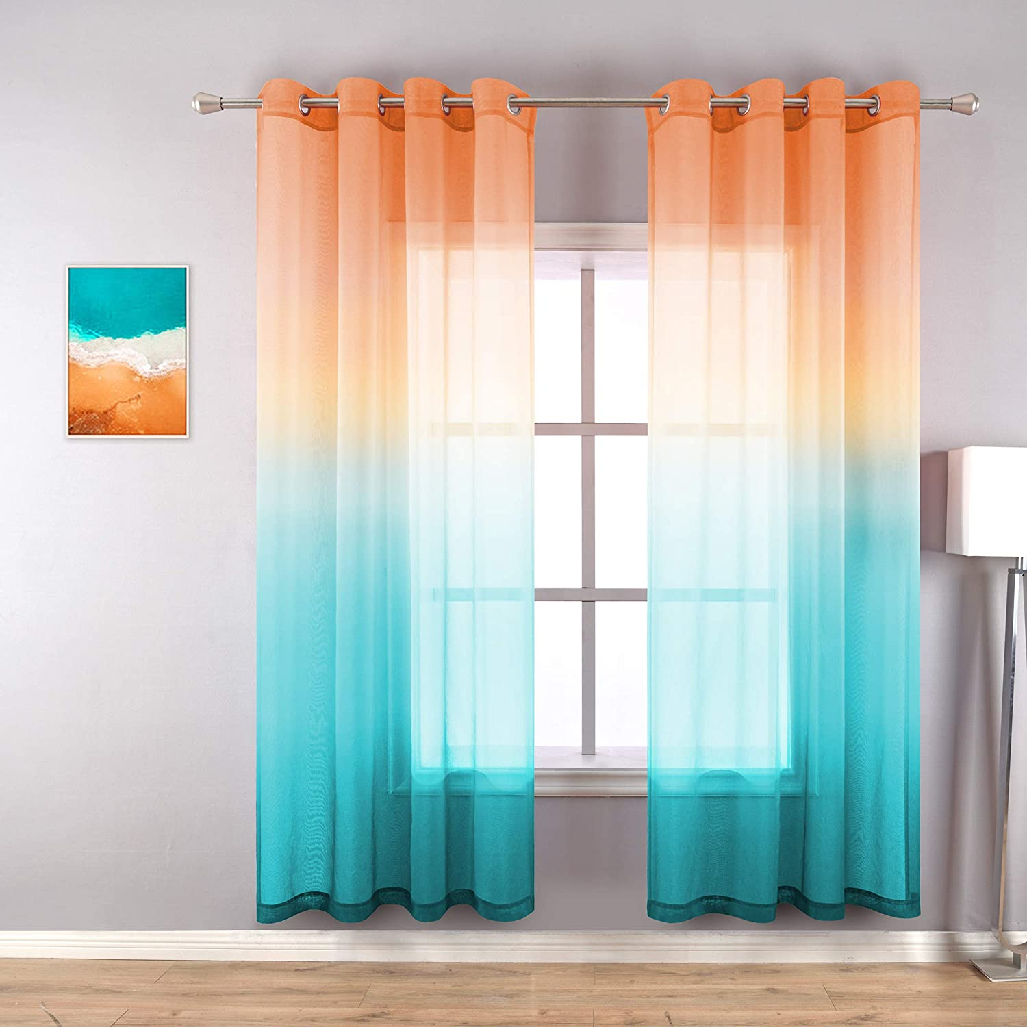 Orange Curtains 63 Inch Length for Bedroom Decor Set 2 Panel Grommet Sheer Drape Short Decorative Beach Curtains for Kitchen Window Decorations Kids Room Ombre Tangerine Aqua Teal Blue Turquoise Green