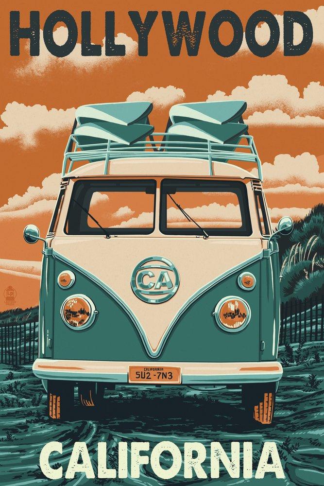 Hollywood , California – VW Van Letterpress 16 x 24 Giclee Print LANT-46128-16x24 B00N5CEE8E 16 x 24 Giclee Print16 x 24 Giclee Print