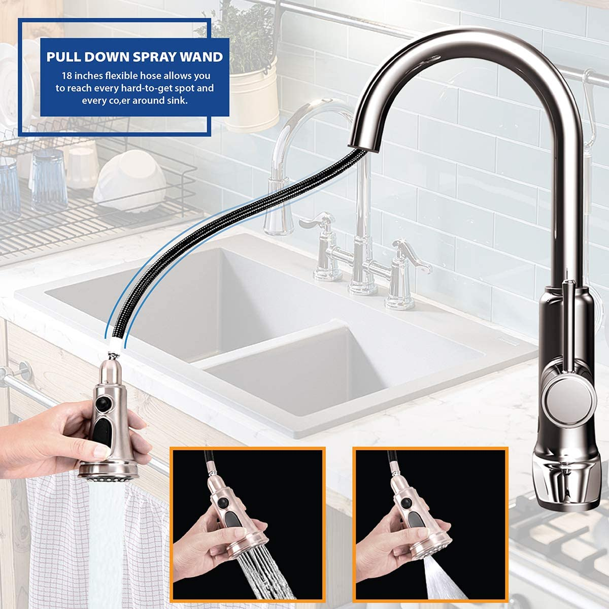 Kitchen & Bath Fixtures Kitchen Sink Faucet with Pull Down Sprayer ...