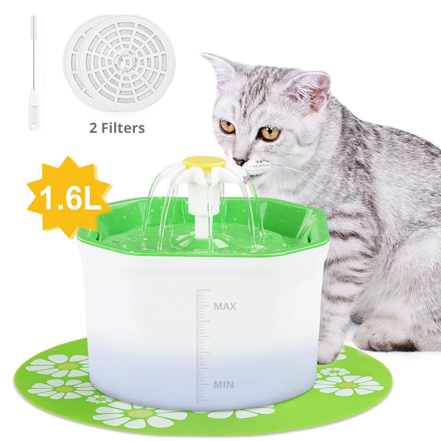 VITCOCO Pet Fountain,60oz/1.6L Flower Style Designed Dog and Cat Water Fountain Healthy Hygienic Fresh Water Automatic Electric Water Dispenser for Cats,Birds,Small Dogs and Animals by VITCOCO
