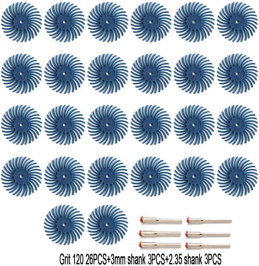 FPPO 26pcs 1 Inch Radial Bristle Disc Kit with 1//8 3//2.35mm Shank for Dremel Rotary Tools,Detail Abrasive Wheel for Jewelry wood metal Polishing Grit 2500 Bristle Buffing Wheel