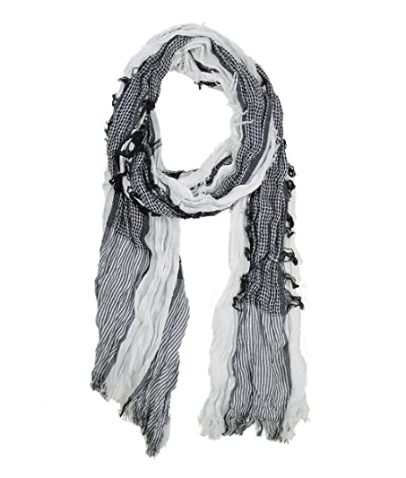 Modadorn Shabby Chic Two Tone Colored Crocheted Scarf White Womens