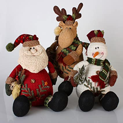 3 modern lodge santa claus moose snowman christmas table top decorations - Christmas Moose Decorations
