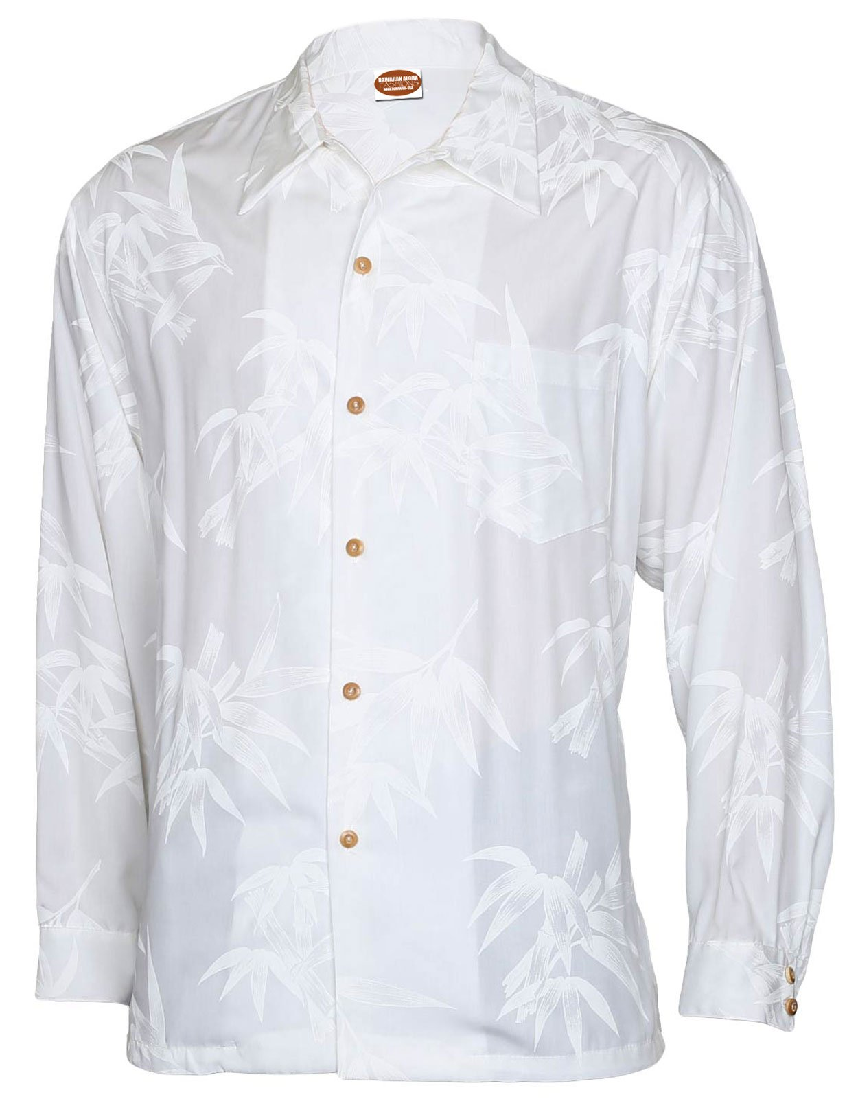 Long Sleeves Hawaiian Wedding Shirt Rayon Tropical Bamboo Design, MEDIUM, WHITE