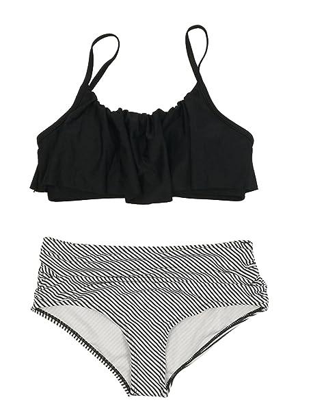 b19c699f9e Amazon.com: American Trends Womens Falbala High-Waisted Two Piece Bikini  Flounce Ruched Crop Swimsuit Vintage Ruffled Swimwear: Clothing