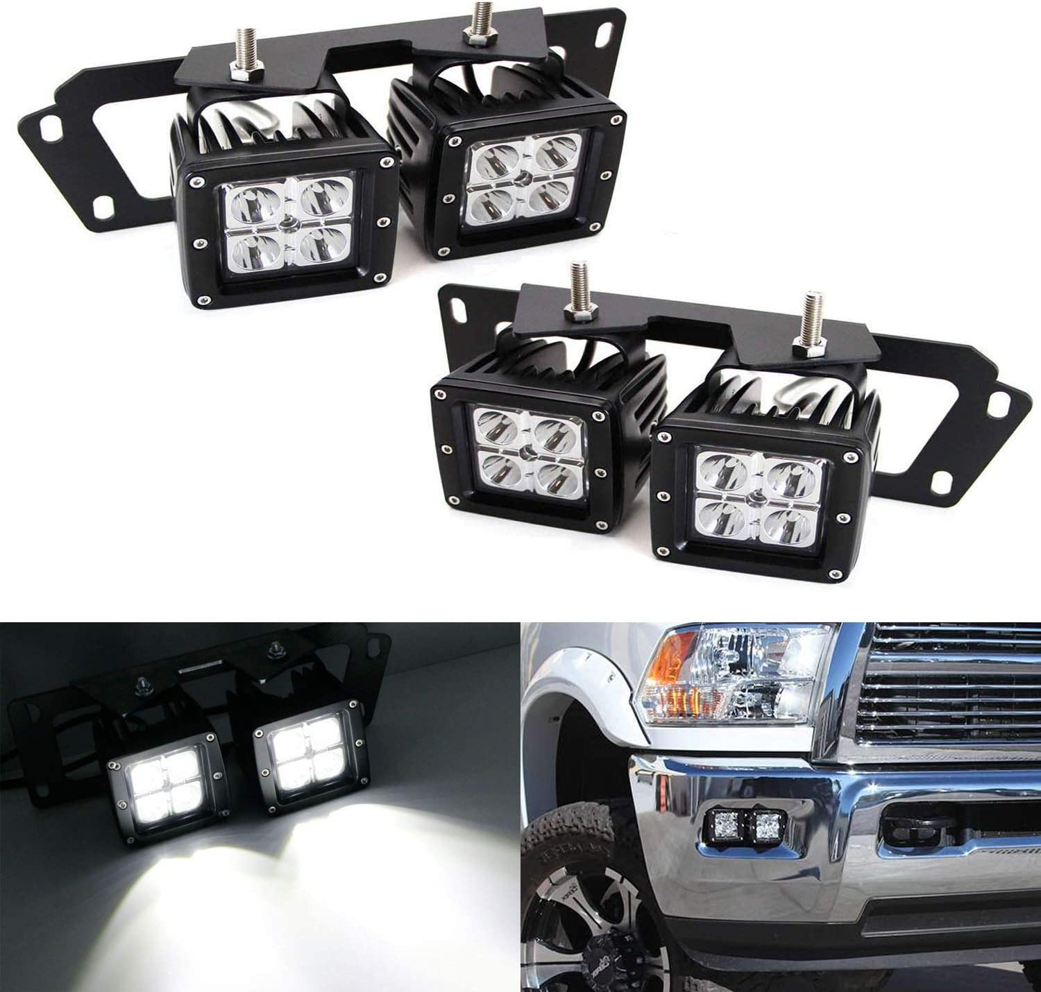 iJDMTOY LED Pod Light Fog Lamp Compatible With Dodge 2009-12 RAM 1500 & 10-18 RAM 2500 3500, Includes (4) 20W High Power CREE LED Cubes, Foglight Location Mounting Brackets & Wiring/Adapter Harnesses