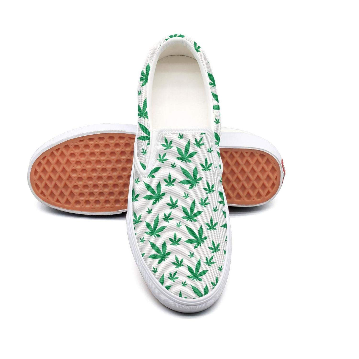 Sernfinjdr Women's Green Outdoor Cannabis Fashion Casual Canvas Slip on Shoes Classic Cycling Sneaker Shoes